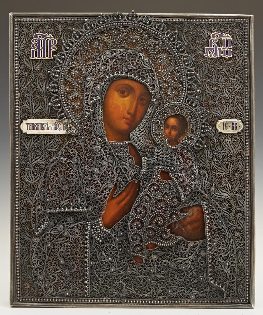 Russian Icon of the Virgin of Tikhvin , 1896-1908,