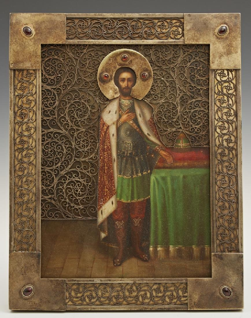 Russian Icon of Saint Alexander Nevsky, 1908-1917,