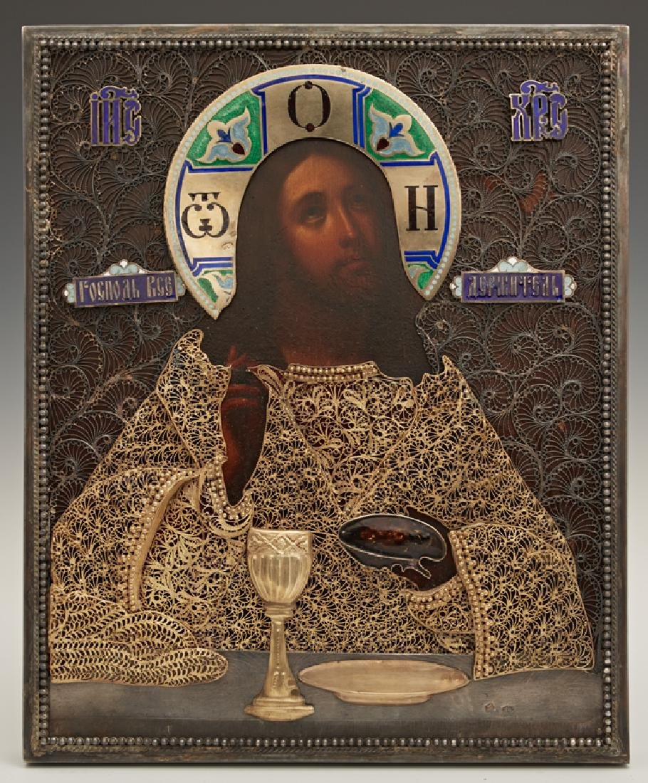 Russian Icon of Christ Blessing the Wine and Bread,