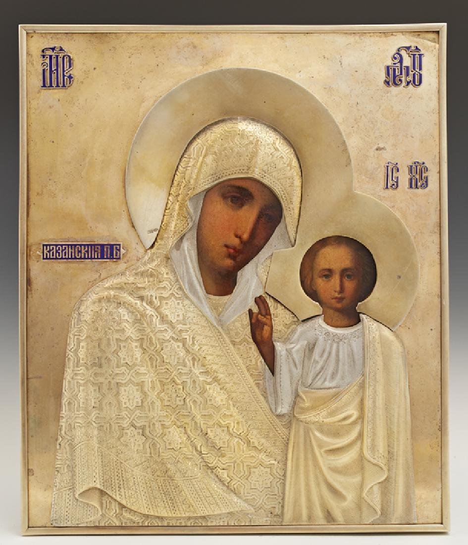 Russian Icon of the Virgin of Kazan, late 19th c., St.