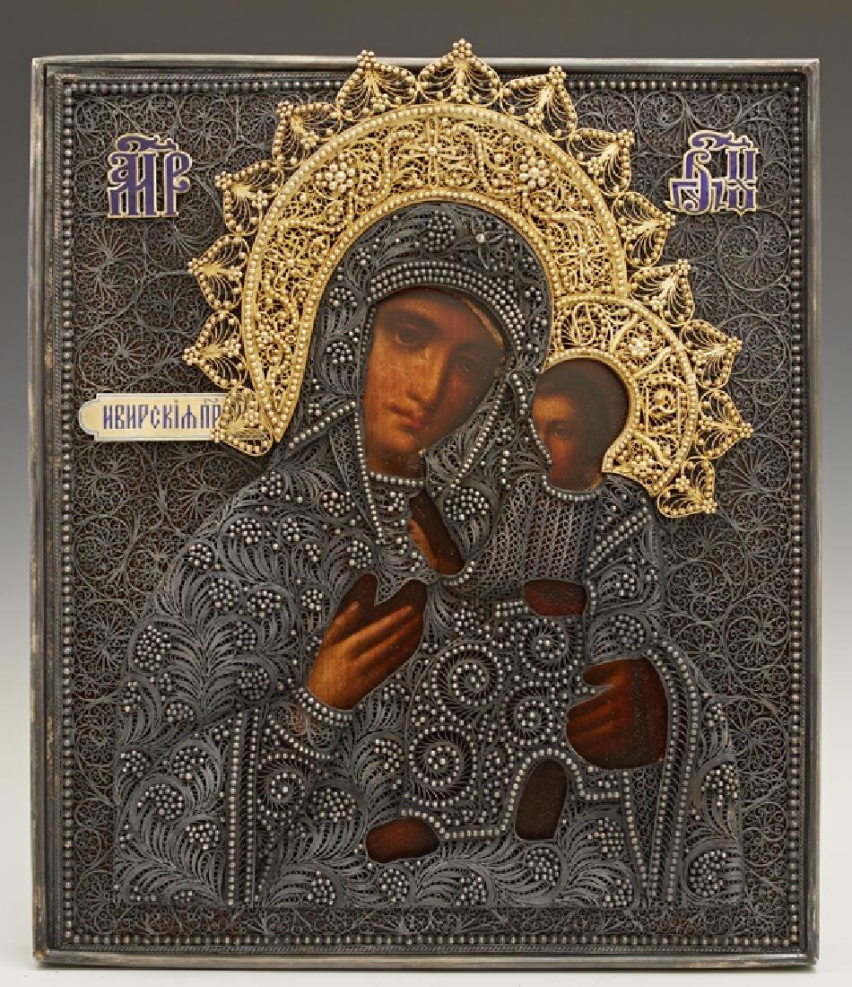 Russian Icon of the Virgin of Iverskaya, 1896-1908,