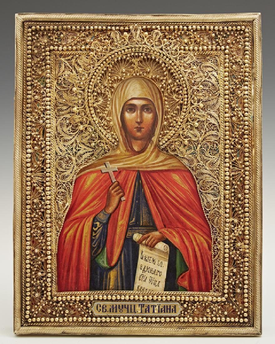 Russian Icon of Saint Tatiana, 1896-1908, Moscow, with