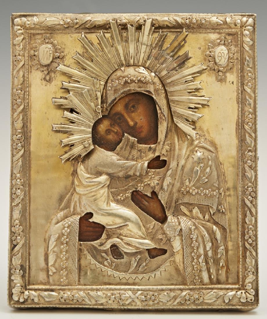 Russian Icon of the Virgin of Vladimir, 1839, Moscow,
