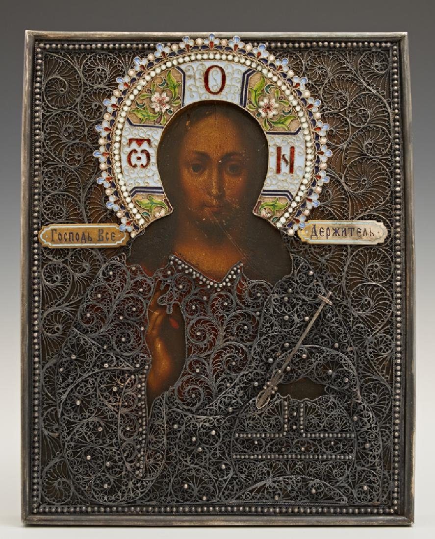Russian Icon of Christ Pantocrator, 1896-1908, Moscow,