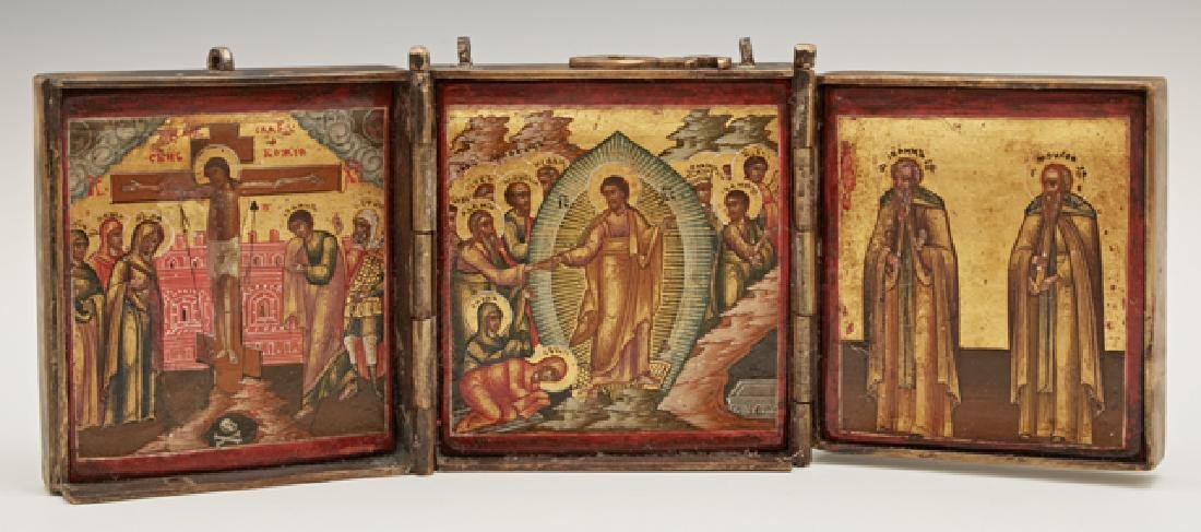 Russian Bronze Icon Triptych of The Resurrection, The
