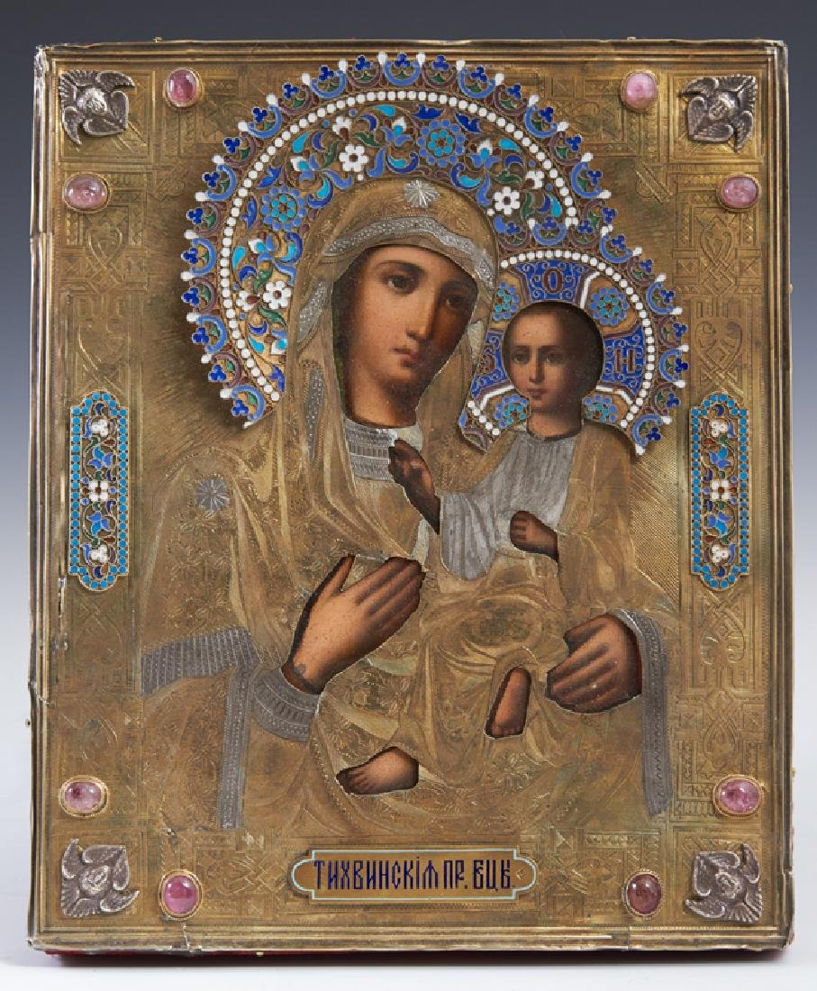 Russian Icon of the Virgin of Tikhvin, Moscow, 1886,