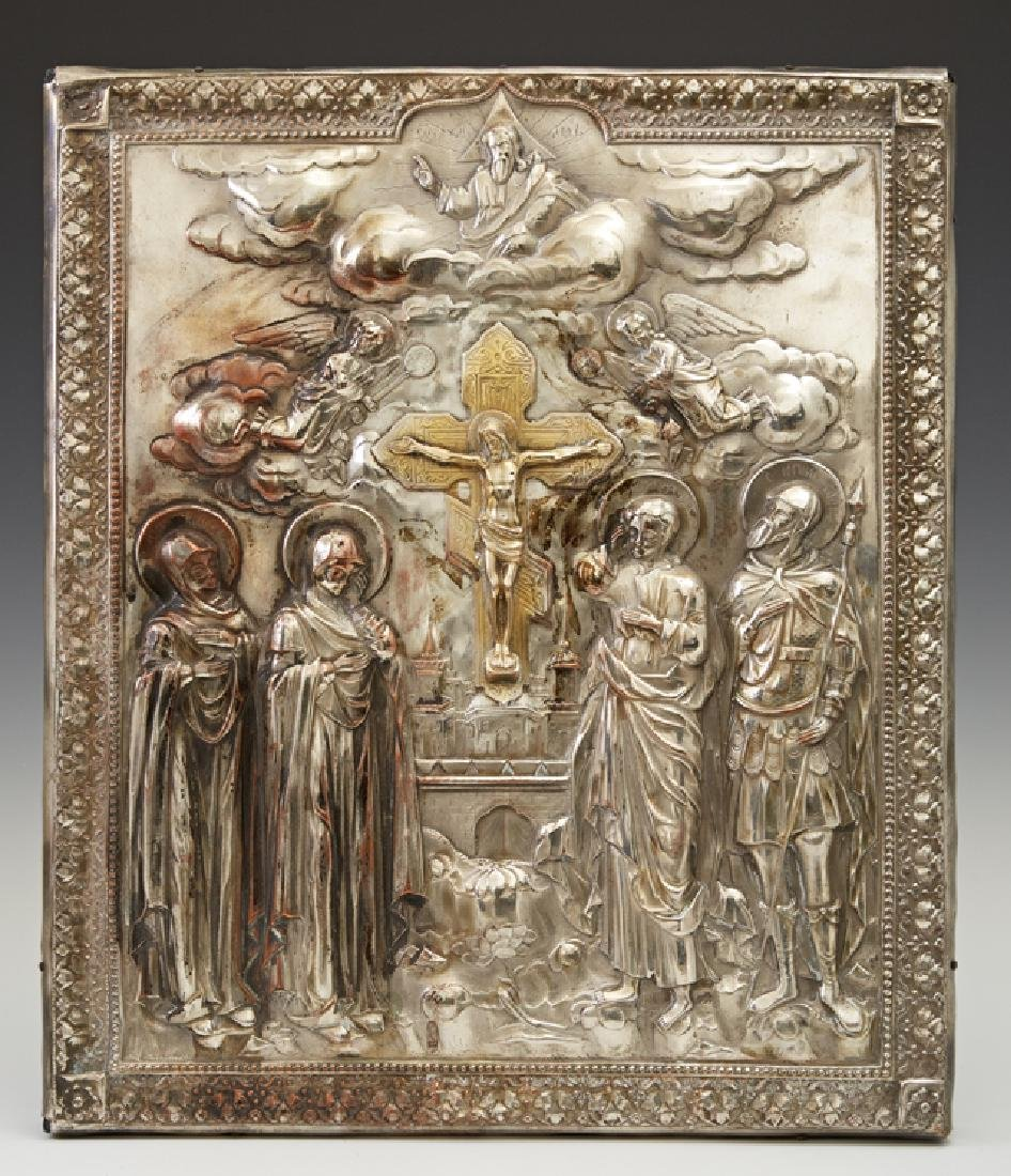 Russian Icon of the Crucifixion, late 19th c., the