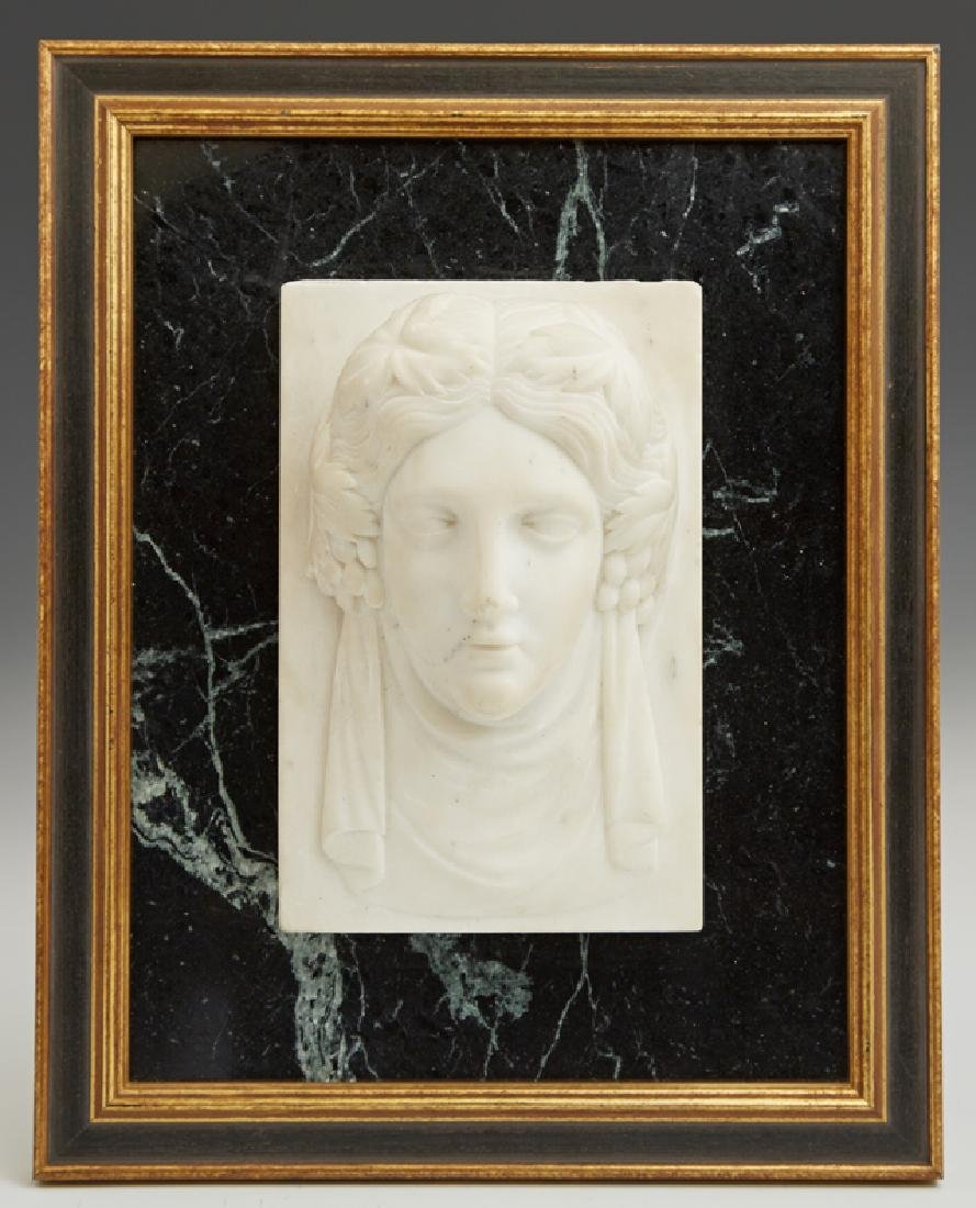 Carved Marble Relief Face of a Classical Woman, 19th