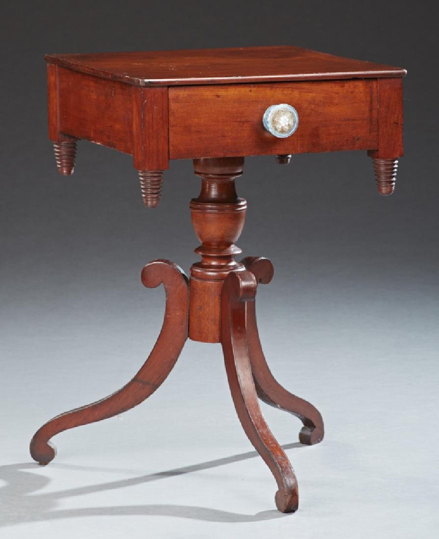 American Classical Style Carved Mahogany Lamp Table,