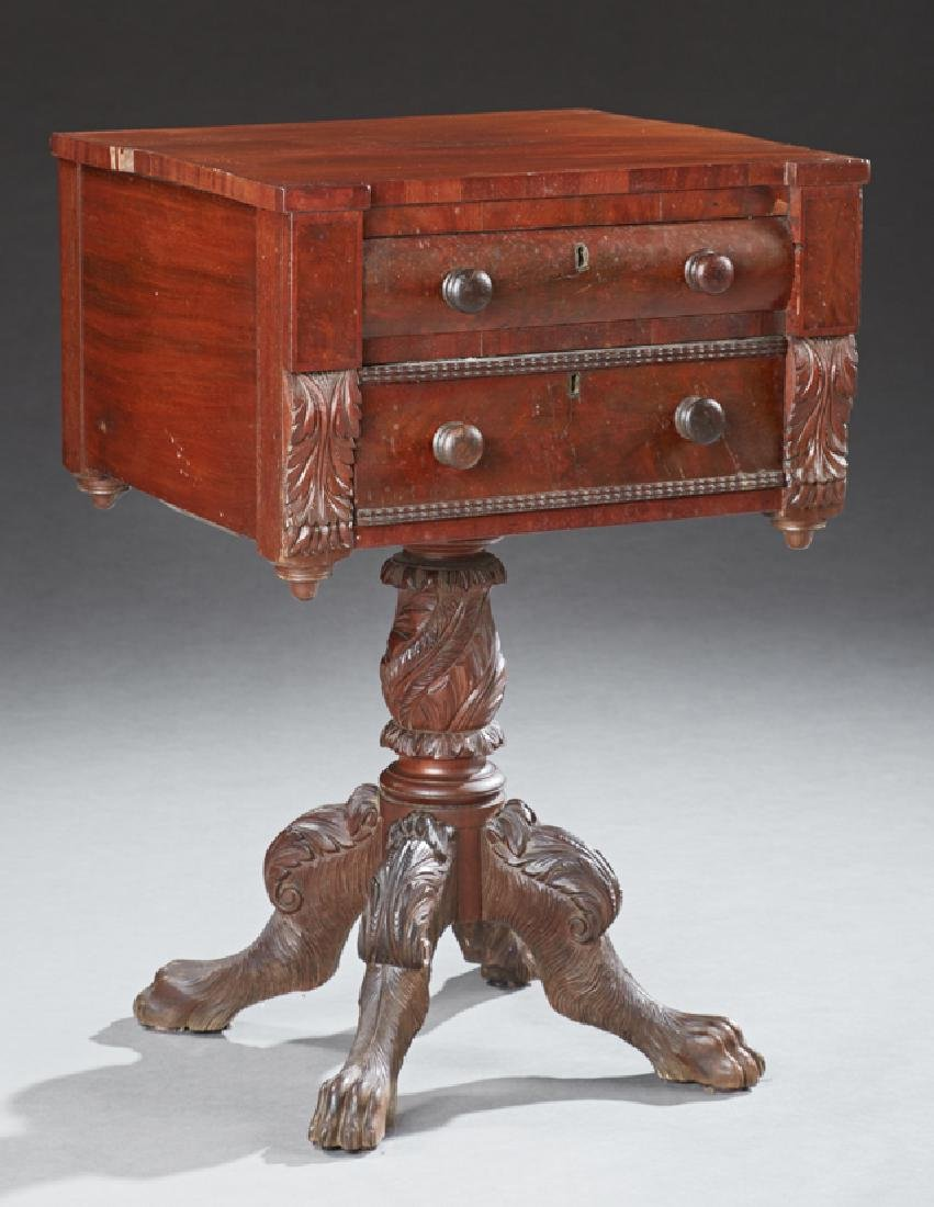 American Federal Carved Mahogany Work Table, 19th c.,