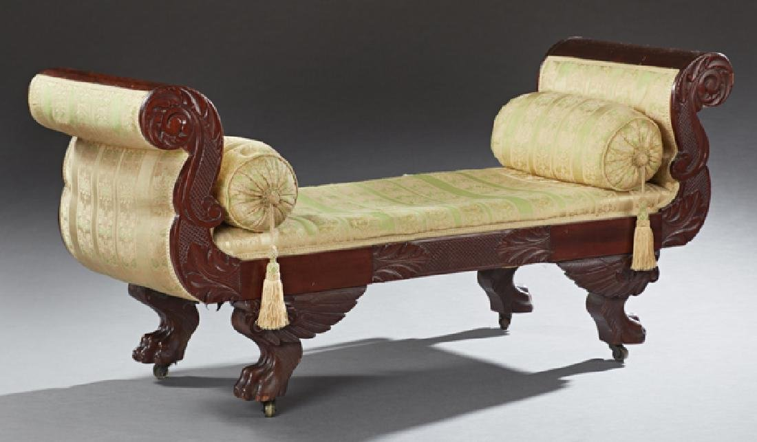 American Classical Carved Mahogany Window Seat, 19th
