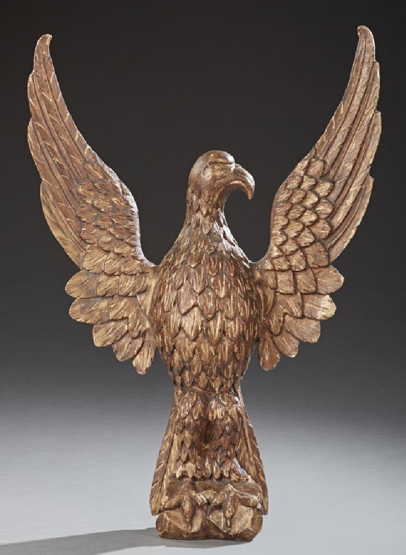 American Carved Gilt Wood Spread Wing Eagle, 19th c.,