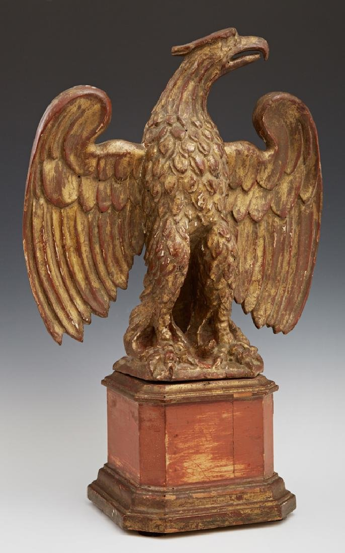 Carved Gilt Wood Table Top Eagle, 19th c., the spread