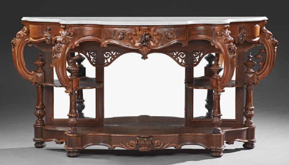 American Rococo Revival Carved Walnut Marble Top