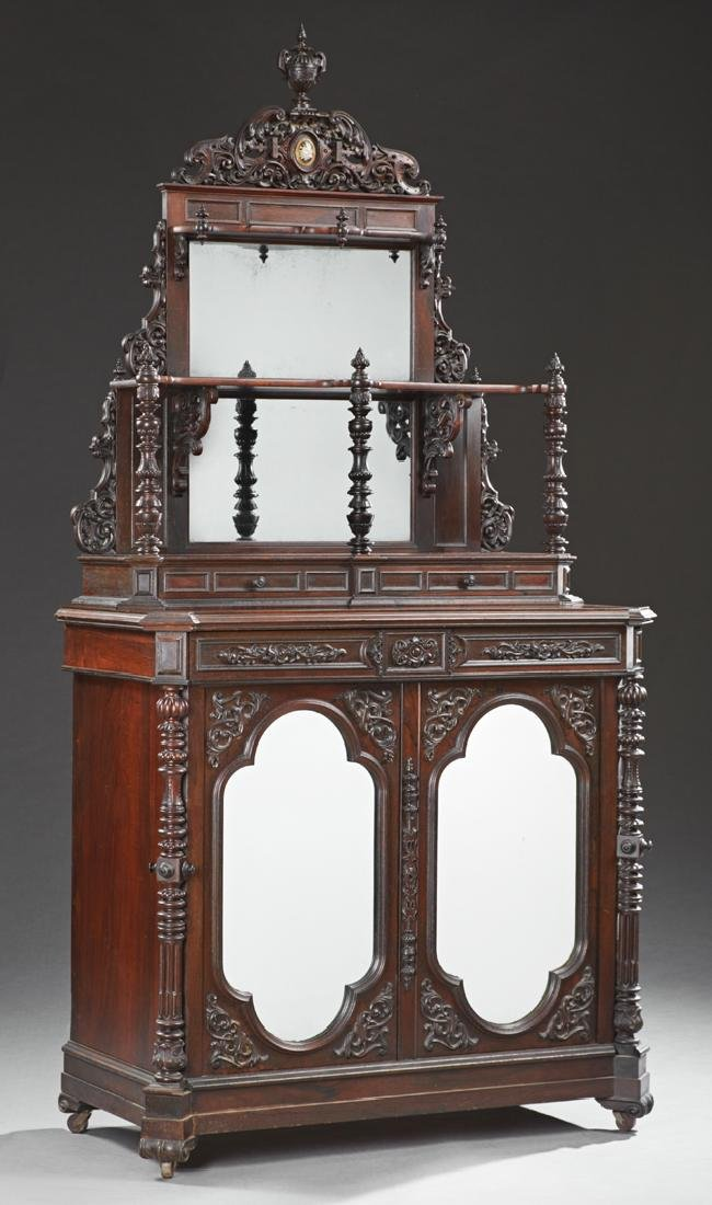 Rococo Style Rosewood Grained Parlor Cabinet, late 19th