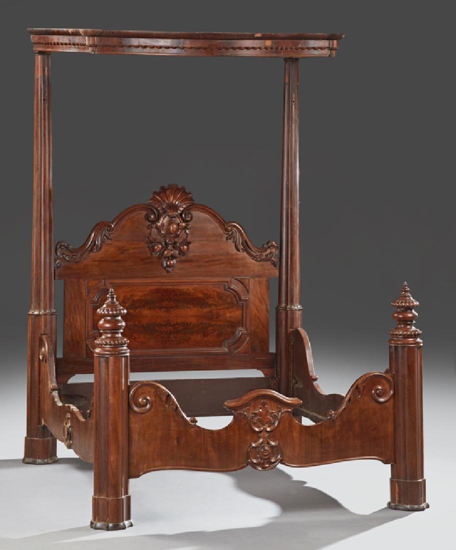American Rococo Carved Mahogany Half Tester Bed, c.