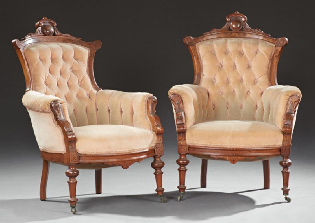 Pair of American Victorian Carved Walnut Armchairs,