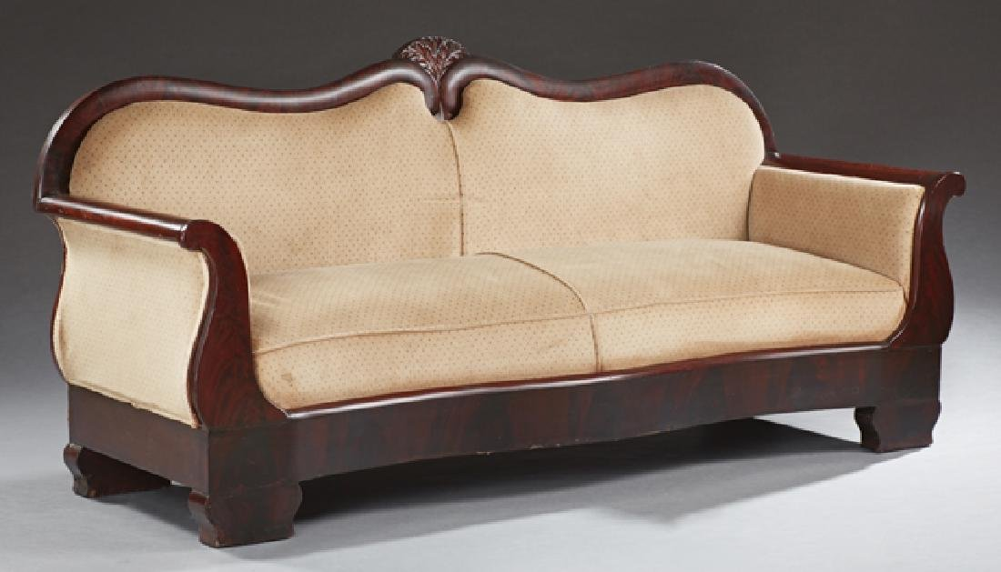 American Classical Carved Mahogany Sofa, 19th c., the