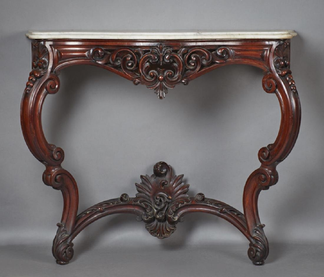 Continental Carved Mahogany Marble Top Console Table,