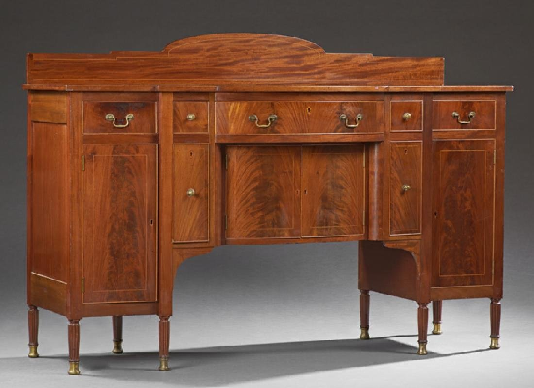 American Inlaid Mahogany Bowfront Sideboard, 19th c.,