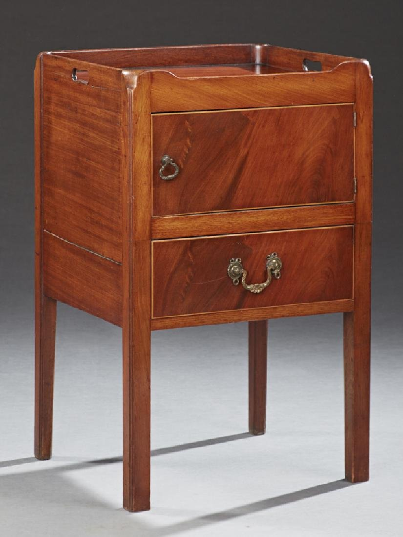 English Georgian Style Carved Mahogany Bedside Commode,
