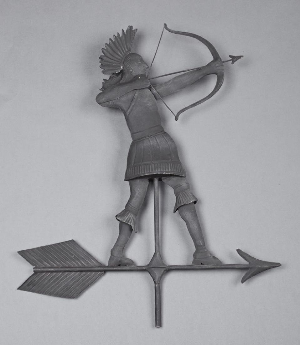 Sheet Iron American Indian Weathervane, c. 1900, the