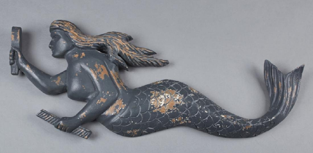 American Carved Wood Mermaid Wall Plaque, late 19th c.,