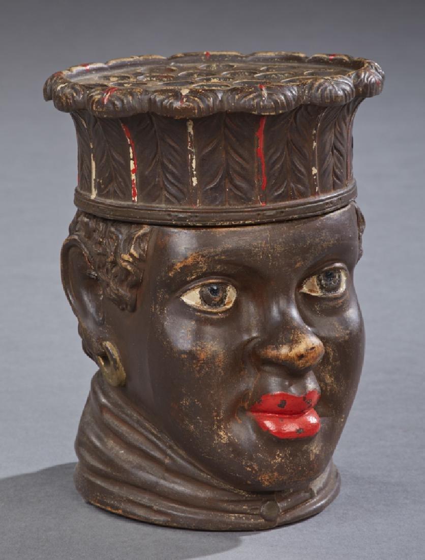 German Black Figural Covered Earthenware Cigar Jar,
