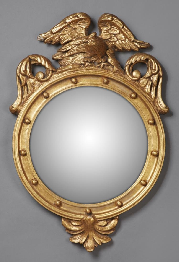 Federal Style Gilt and Gesso Convex Bullseye Mirror, 20
