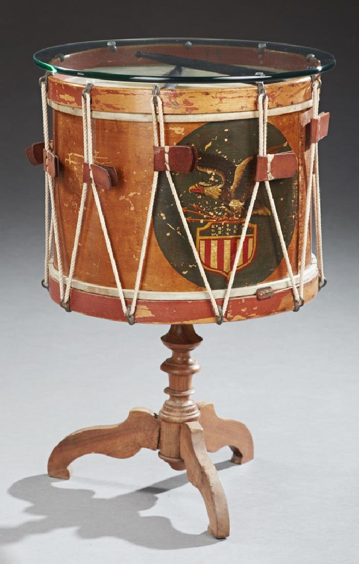 American Polychrome Drum Side Table, late 19th c., the