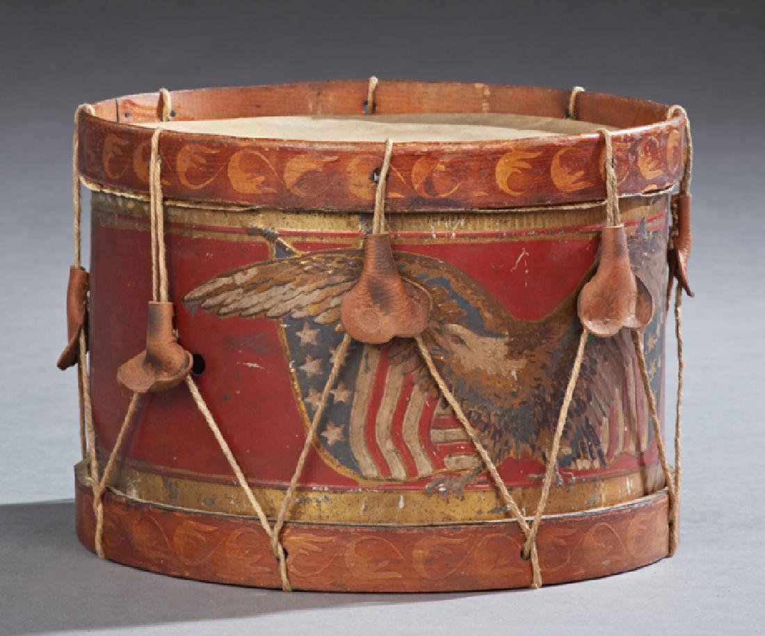 Child's Painted Tin and Wood Toy Drum, 19th c., the