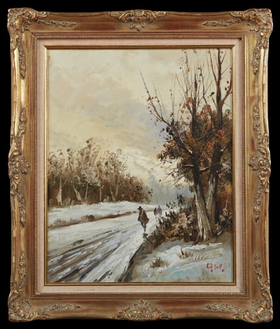 "Giuseppe Carosi (1883-1964), ""Winter Snow Scene with"