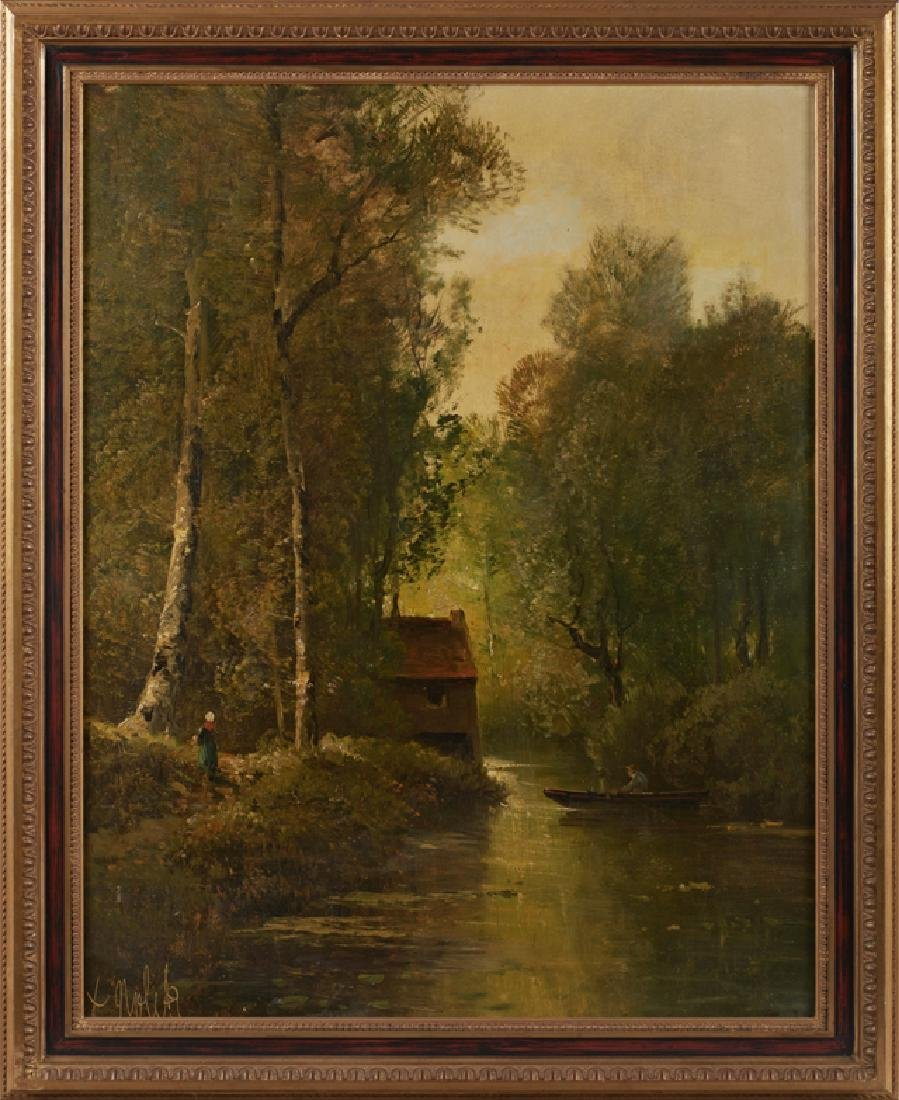 """French School, """"Mill on the Stream,"""" 19th c., oil on"""