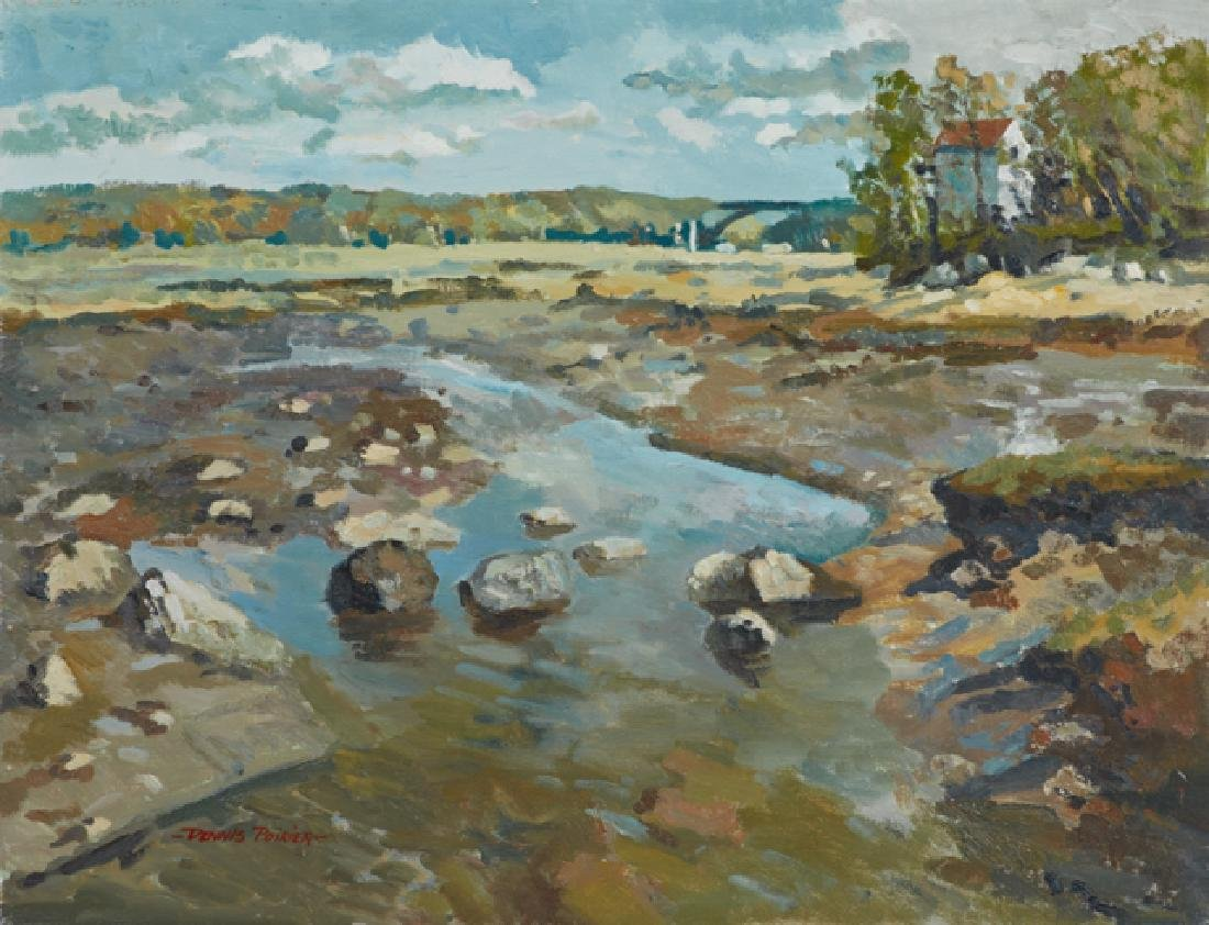 "Dennis Poirier, (American), ""Stream in a Landscape,"""