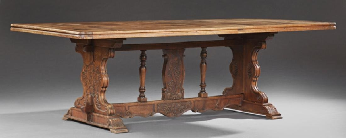 French Carved Walnut Monastery Table, 19th c., the