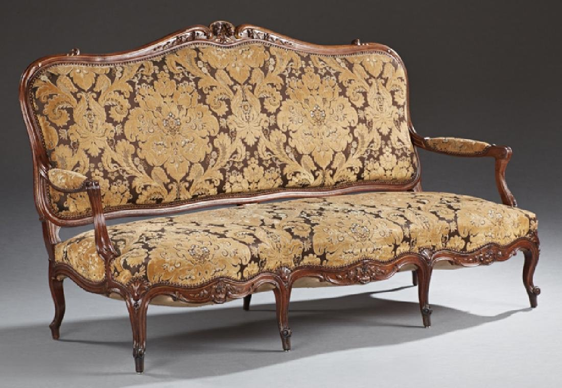 Louis XV Style Carved Walnut Settee, 19th c., the