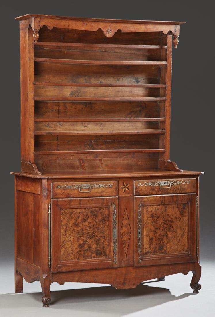 French Provincial Louis XV Style Carved Inlaid Walnut