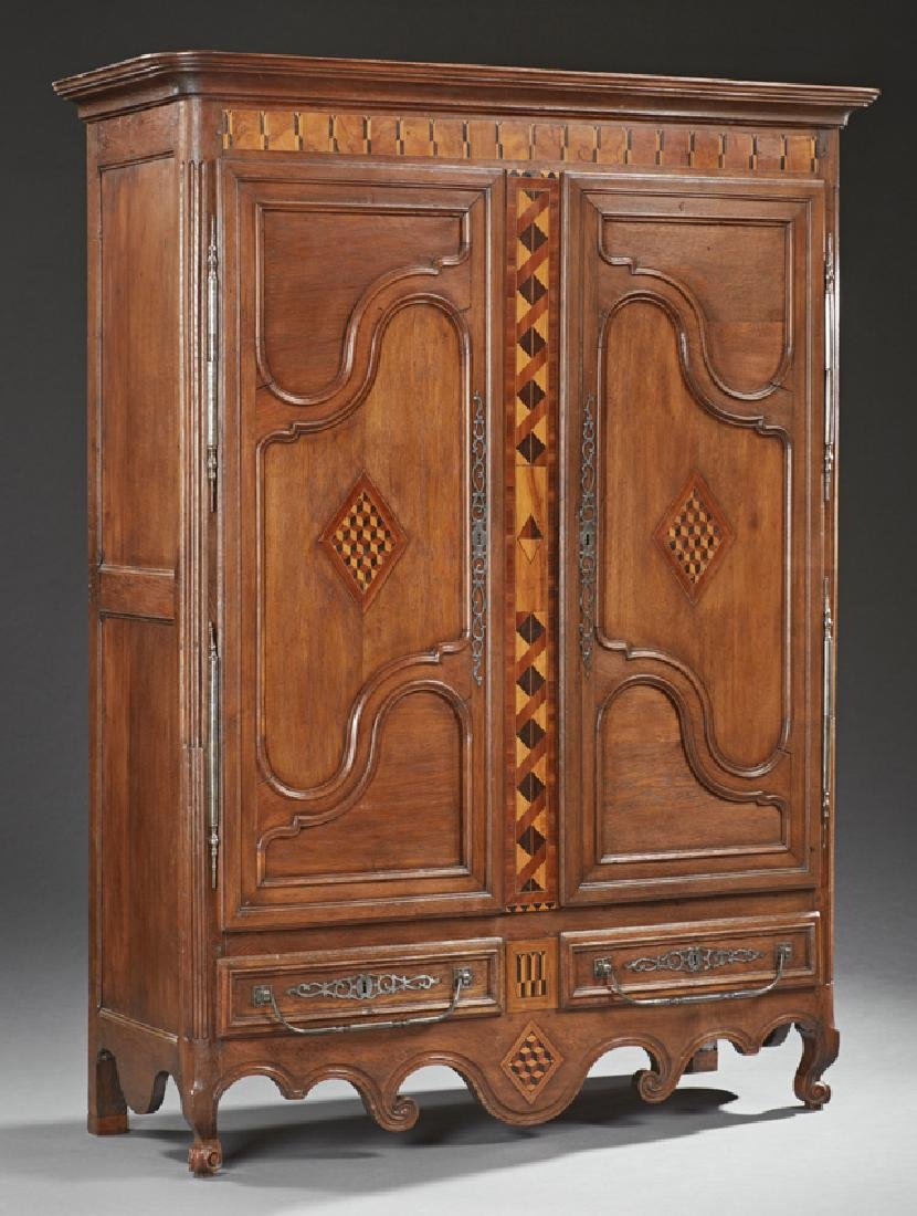 French Provincial Louis XV Style Inlaid Oak Armoire, c.