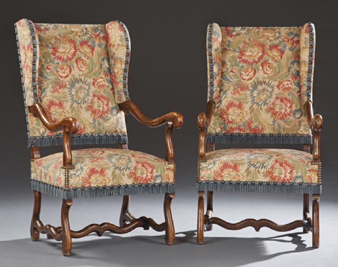 Unusual Pair of French Caned Beech Wing Chairs, early