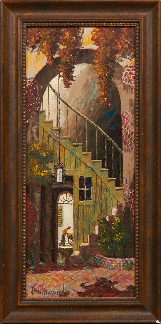 "Drummond, ""French Quarter Patio,"" 20th c., oil on"