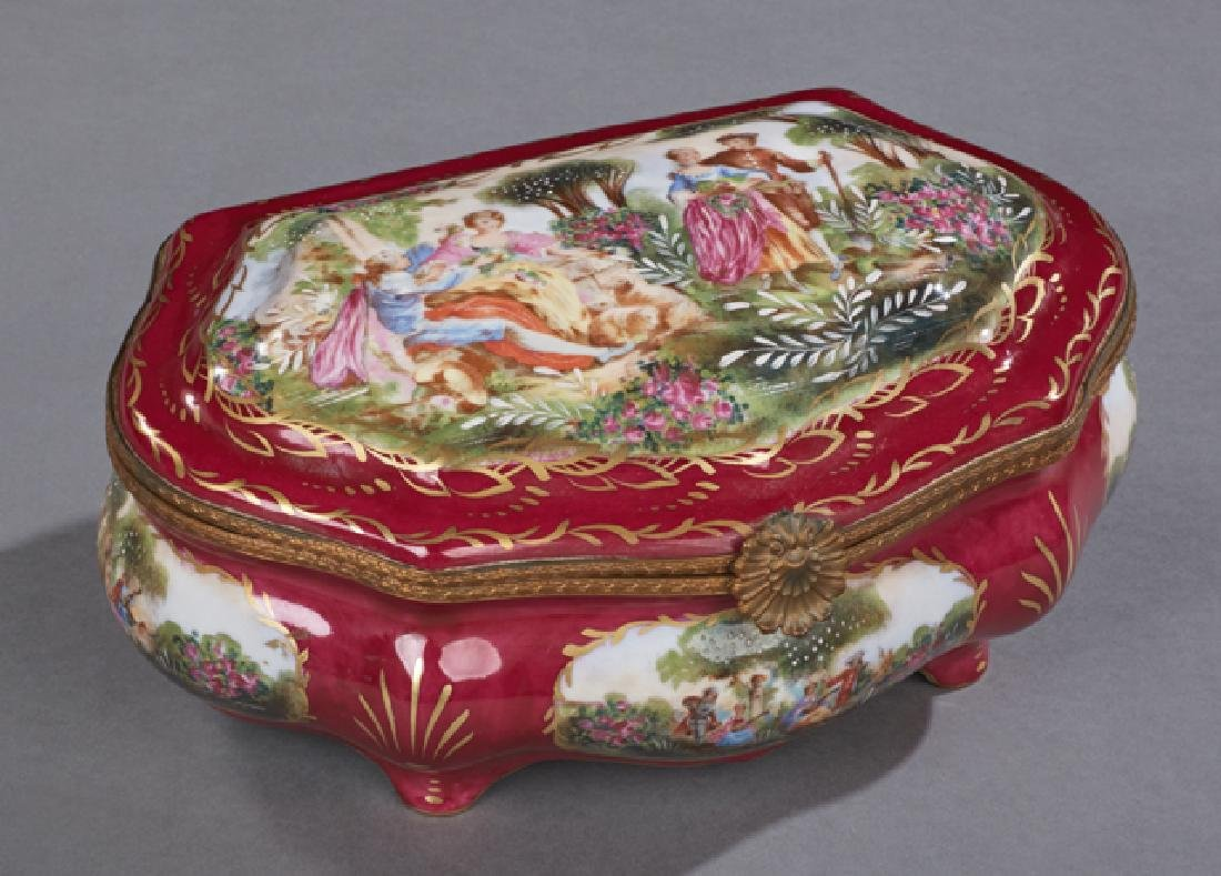 Sevres Style Porcelain and Brass Dresser Box, 20th c.,