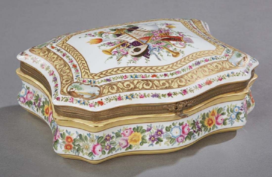 Sevres Style Porcelain Dresser Box, 20th c., of lobed