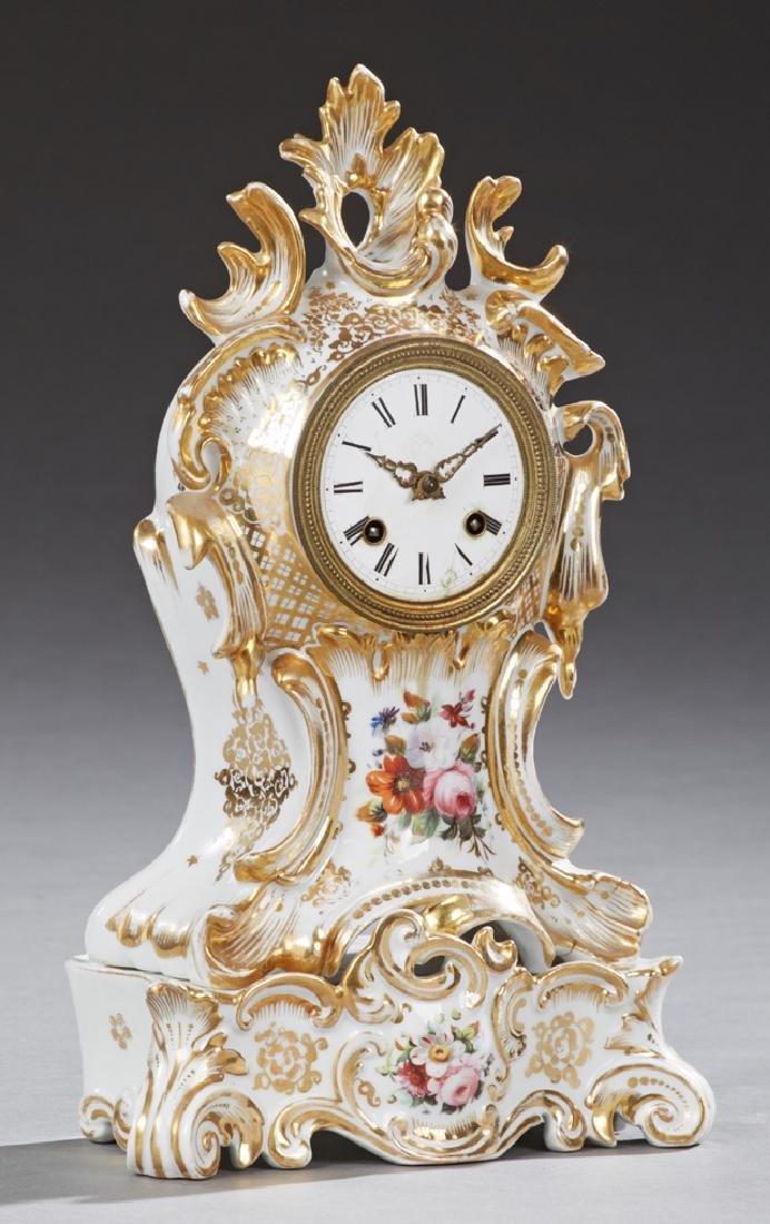 Old Paris Porcelain Mantle Clock, 19th c., by Japy