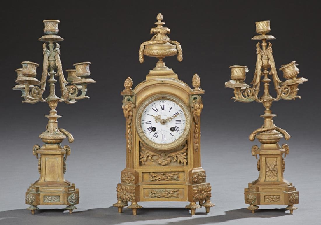 French Three Piece Louis XVI Style Bronze Clock Set,