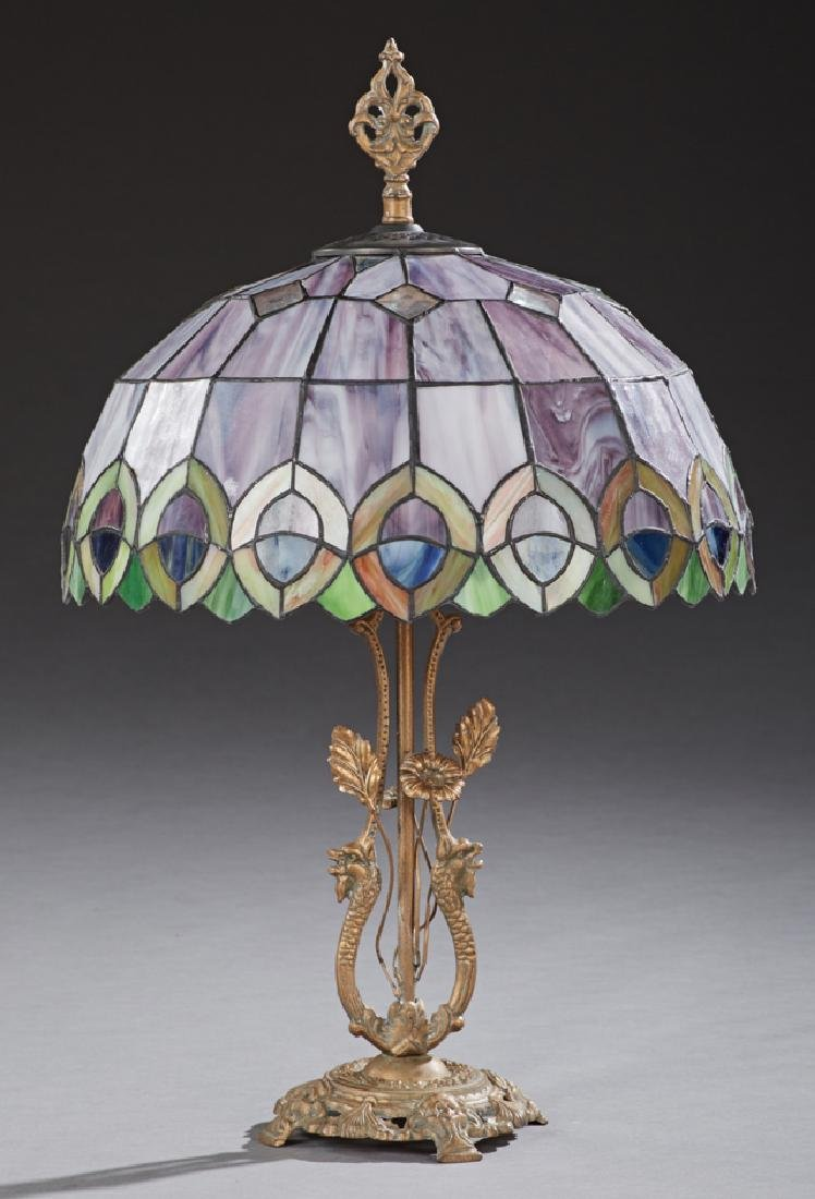 Tiffany Style Slag Glass Table Lamp, late 20th c., the