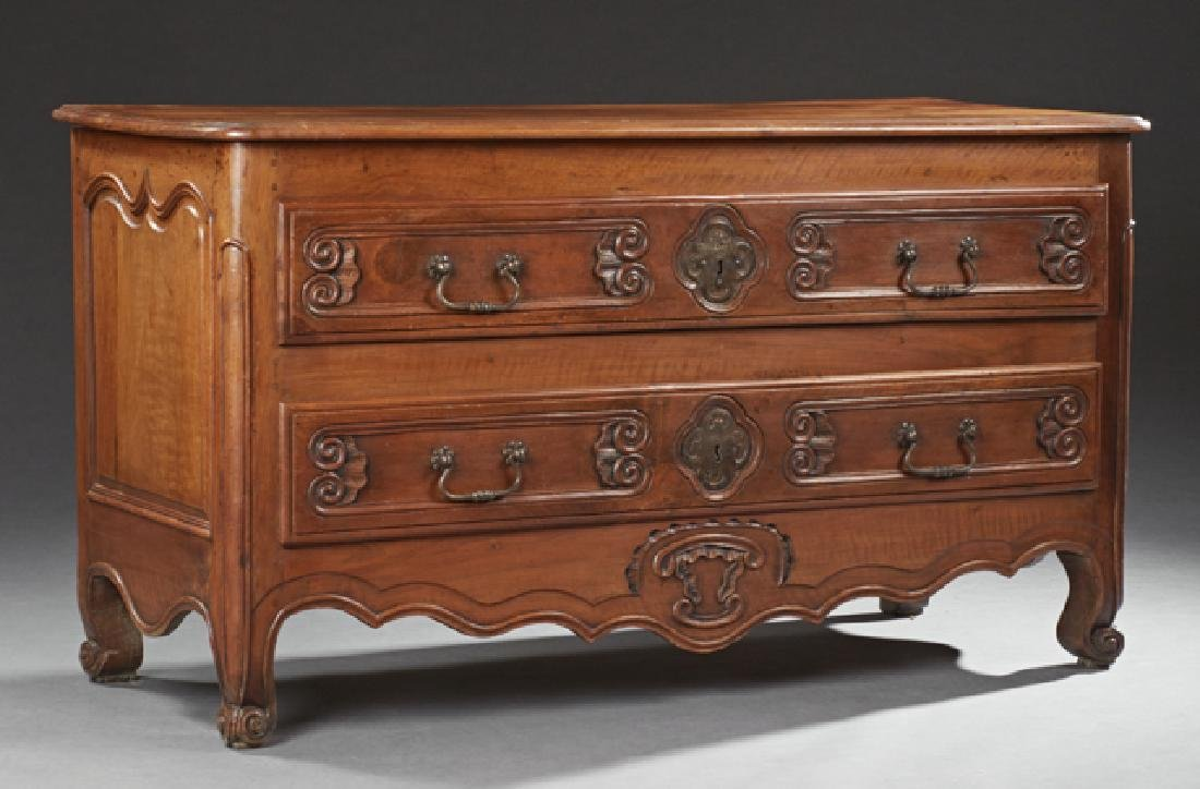 Late French Louis XV Style Carved Walnut Commode, early