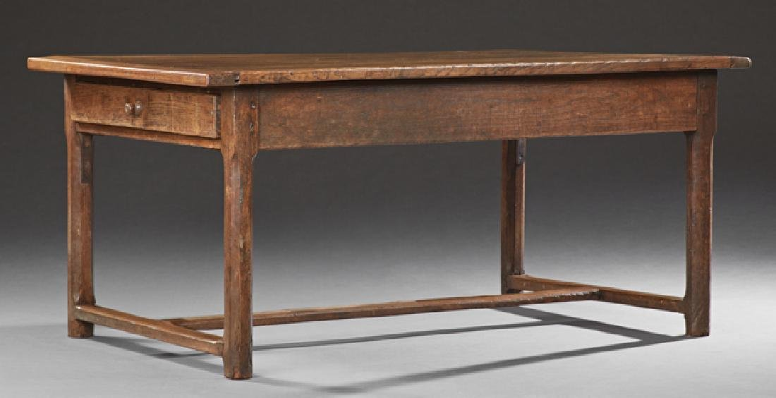 French Provincial Carved Oak Farmhouse Table, 20th c.,