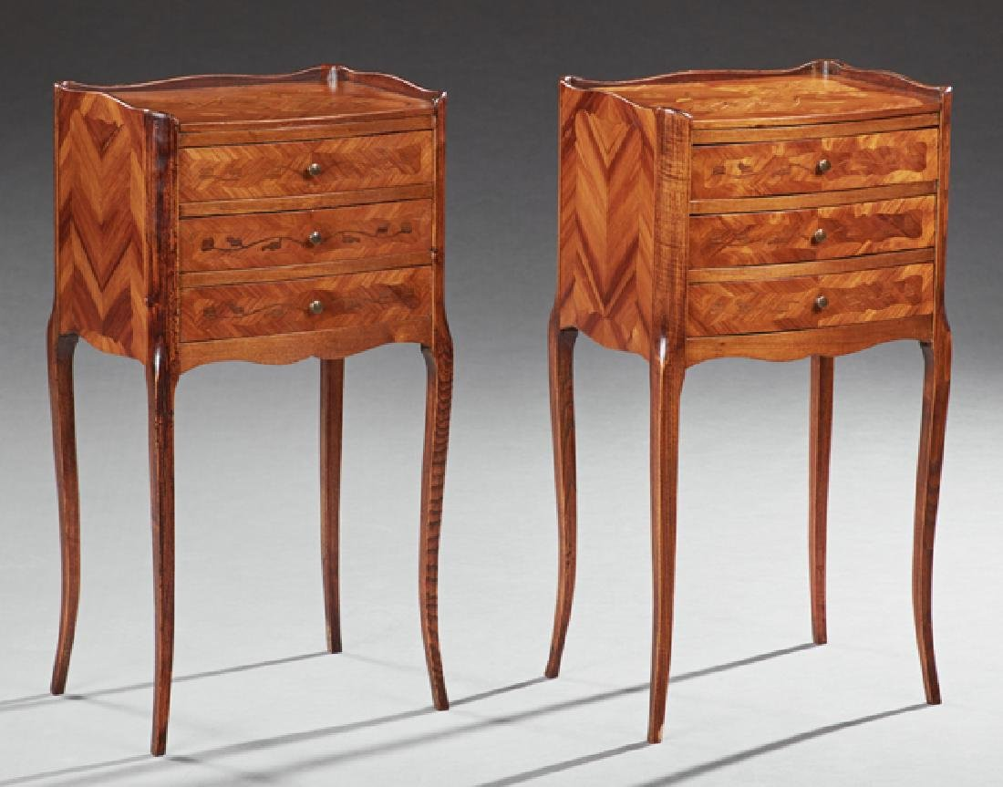 Pair of Louis XV Style Marquetry Inlaid Mahogany