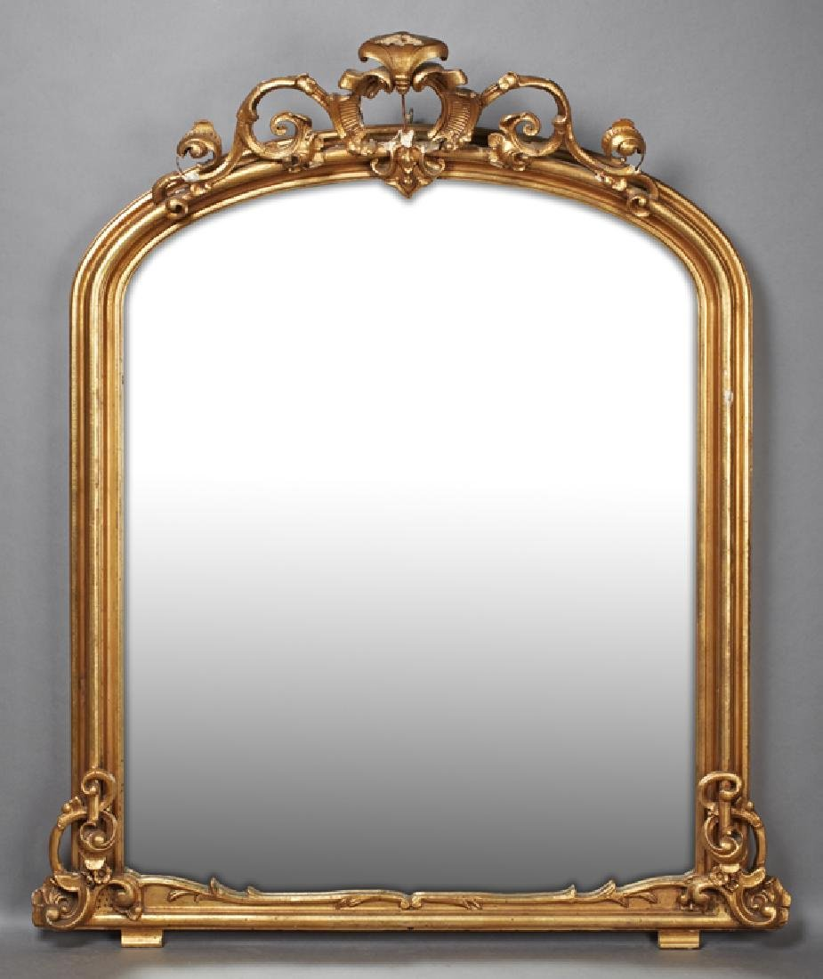 American Victorian Gilt and Gesso Overmantle Mirror