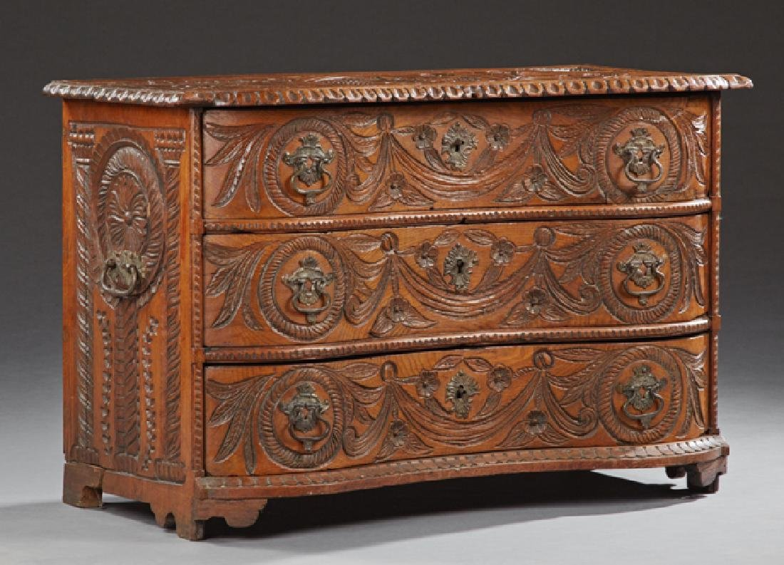 Unusual French Provincial Highly Carved Oak Travel